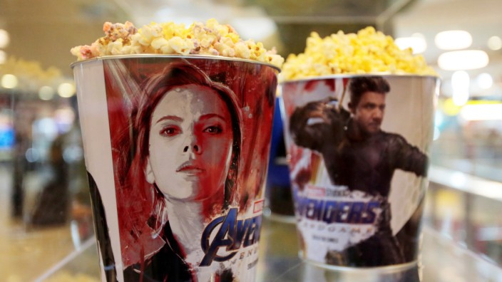 Popcorn buckets are seen during an early premiere of 'The Avengers: Endgame' movie in La Paz