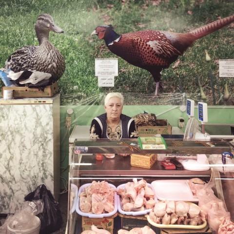 Fleischverkäuferin in Kostroma, Russland