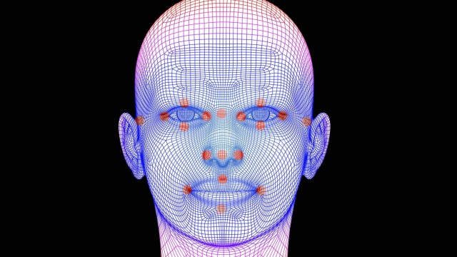 Biometric facial map Biometric facial map Human face with markers of facial recognition software T
