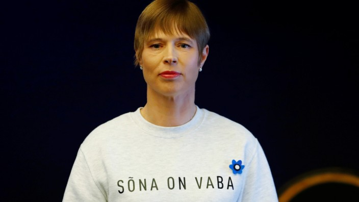 Estonian President Kersti Kaljulaid attends the swearing-in of the incoming coalition government in Tallinn