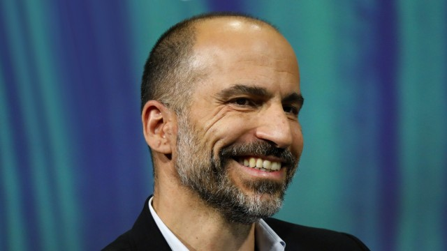 Uber's CEO Dara Khosrowshahi speaks at the Viva Tech start-up and technology summit in Paris