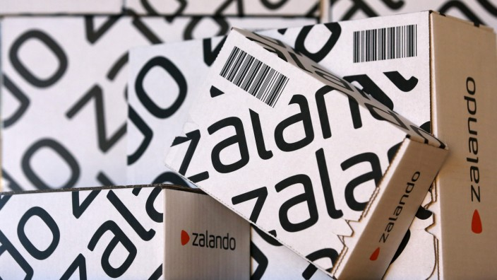 File photo of parcels of Europe's biggest online fashion retailer Zalado displayed during a media presentation in Berlin