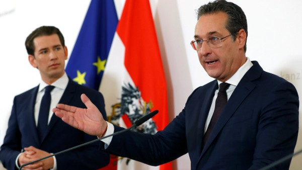 Austria's Chancellor Sebastian Kurz and Vice Chancellor Heinz-Christian Strache attend a news conference in Vienna