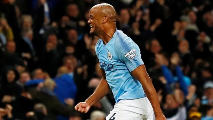 Man City - Vinzent Kompany nach einem Tor 2019 gegen Leicester City