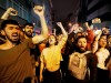 Demonstrators shout anti-government slogans during a protest against the High Election Board (YSK) decision to re-run the mayoral election, in Istanbul
