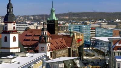 29. April 2009: In der Diskussion: Der Streit um ein Wandgemälde in einer Schule in Chemnitz.Im Bild: Die Stadtmitte von Chemnitz.