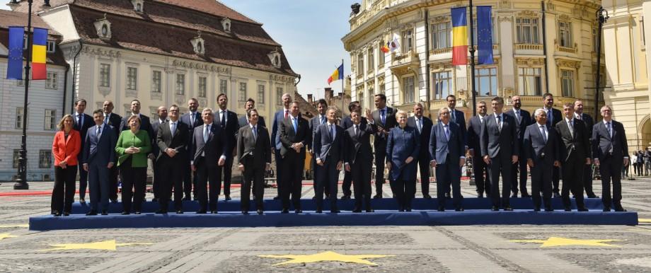 Staats- und Regierungschefs beim EU-Sondergipfel 2019 in Sibiu