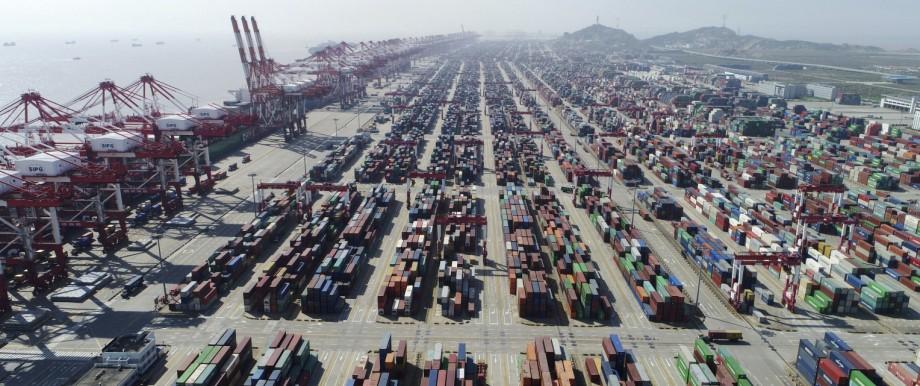 Handelsstreit: Der Containerhafen von Shanghai