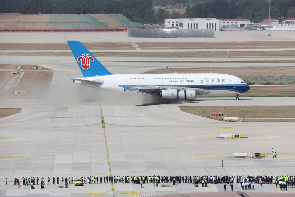 Airbus A380 aircraft from China Southern Airlines lands at the Beijing Daxing International Airport that is under construction, during a test flight in Beijing