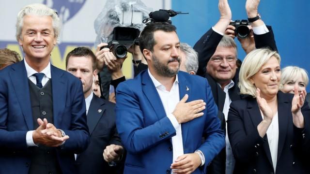 Die Rechtspopulisten Geert Wilders, Matteo Salvini und Marine Le Pen