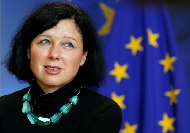 EU Justice Commissioner Jourova speaks during an interview with Reuters in Brussels