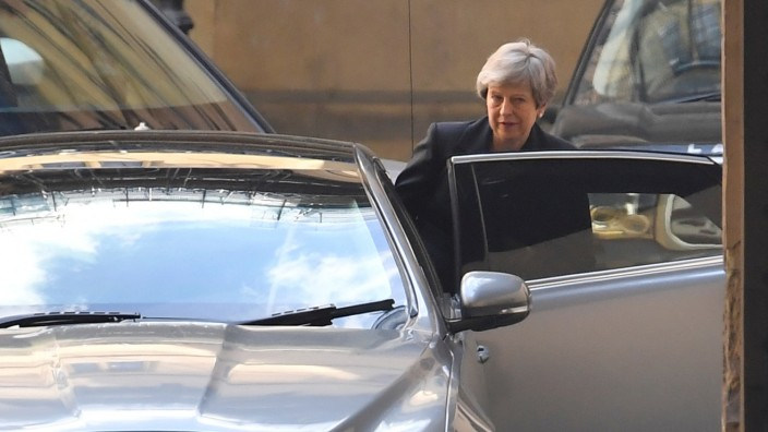 Britain's Prime Minister Theresa May leaves the Houses of Parliament in London