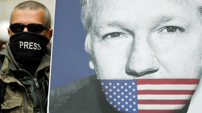 Assange-Unterstützer mit einem Protestplakat 2019 in London