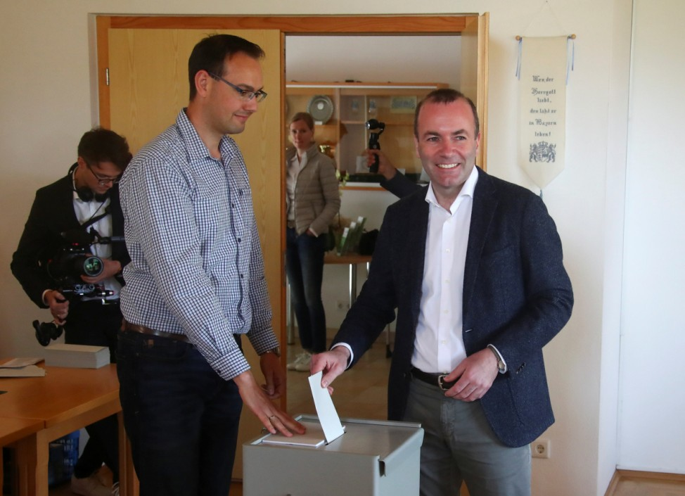 Manfred Weber, candidate of the European People's Party (EPP) for the next European Commission President casts his vote during European Parliament Elections