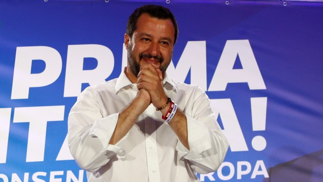 Italian Deputy Prime Minister and leader of far-right League party Matteo Salvini gestures during his European Parliament election night event in Milan