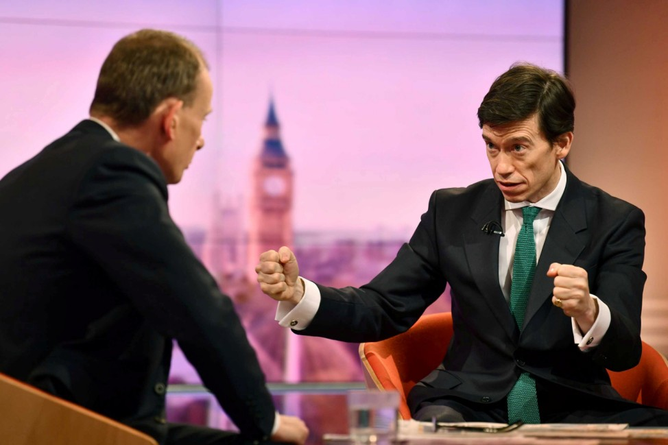 Britain's Secretary of State for International Development Rory Stewart appears on BBC TV's The Andrew Marr Show in London