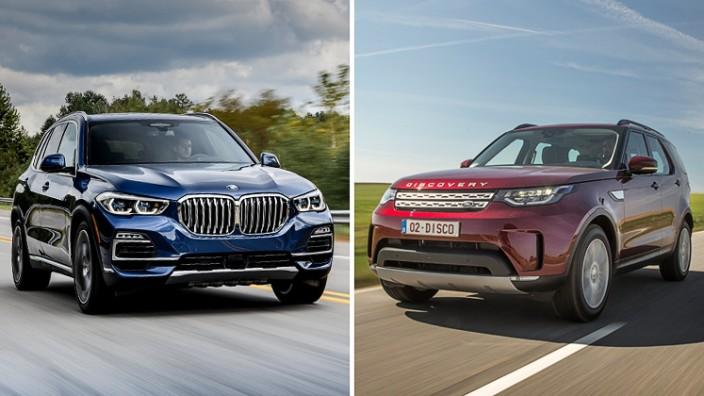 BMW X5 gegen Land Rover Discovery: Zwei Jahre liegen zwischen BMW X5 und Land Rover Discovery. Das zeigt sich deutlich im Test.