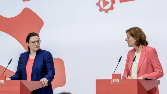 News Bilder des Tages Parteivorsitzende Andrea Nahles li SPD und Malu Dreyer SPD stellv Part