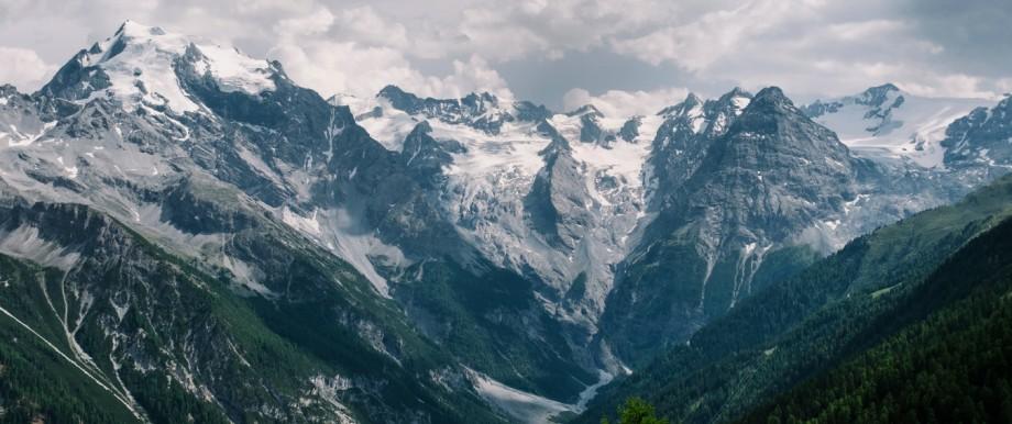 Der 3905 Meter hohe Ortler, von Trafoi aus gesehen.