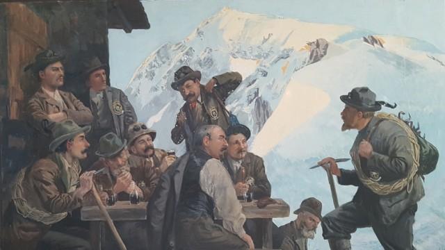 Südtirol: Das Gemälde eines unbekannten Malers von 1906 zeigt Bergführer an der Payerhütte.