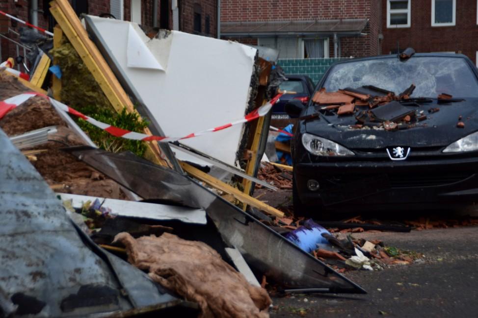 A destroyed car is seen following the tornado in Bocholt