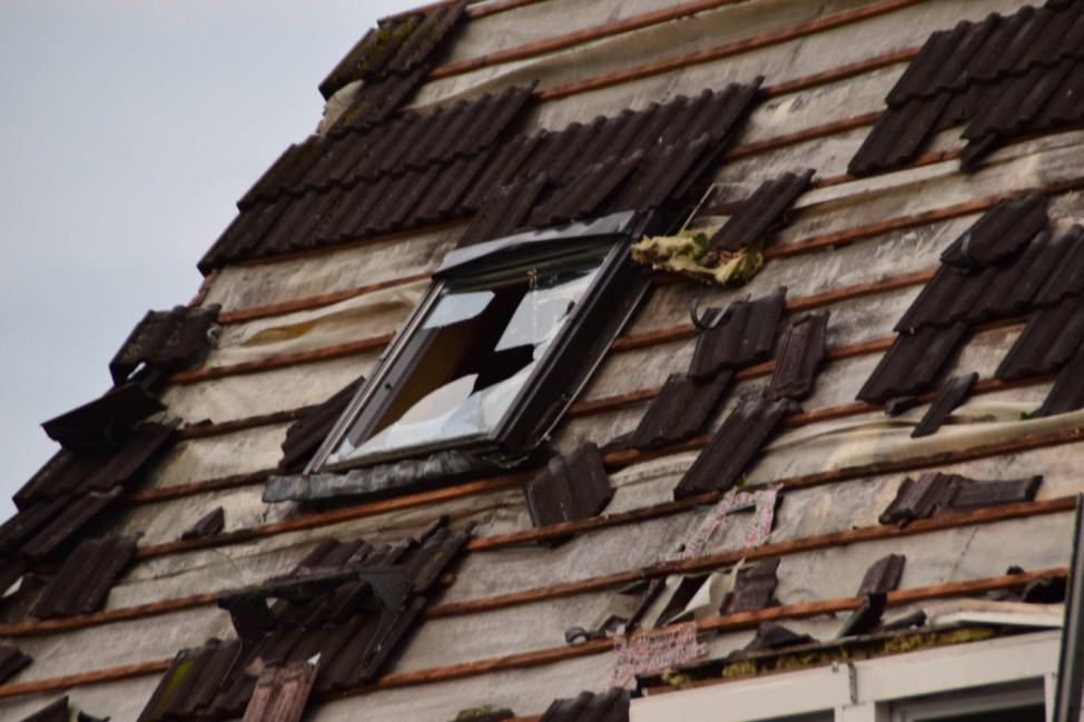 A destroyed roof is seen following the tornado in Bocholt