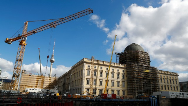 The finished facade at the construction site of the Berliner Schloss - Humboldtforum is pictured in Berlin
