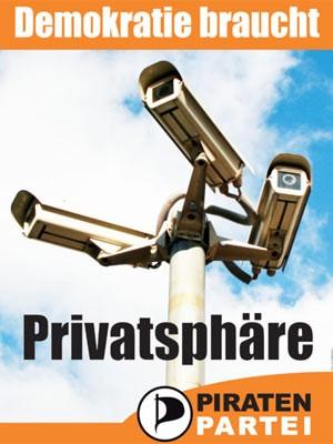 Piratenpartei, Wahlplakat, Europawahl, Kameras, Überwachung