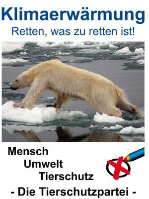 ierschutzpartei, Eisbär, Wahlplakat, Klimaerwärmung, Wahlplakat