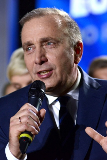 Grzegorz Schetyna, leader of Civic Platform (PO) party, speaks following the release of the first election results of the European Parliamentary elections in Warsaw