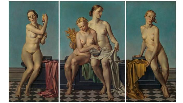 """Adolf Zieglers Triptychon """"Die Vier Elemente"""" ist das wohl bekannteste Bild des Nationalsozialismus. Es hing über Hitlers Kamin und nach dem Krieg im Gang zu den Toiletten. Foto:<th>S. Forster © Bayer. Staatsgemäldesammlungen</th>"""