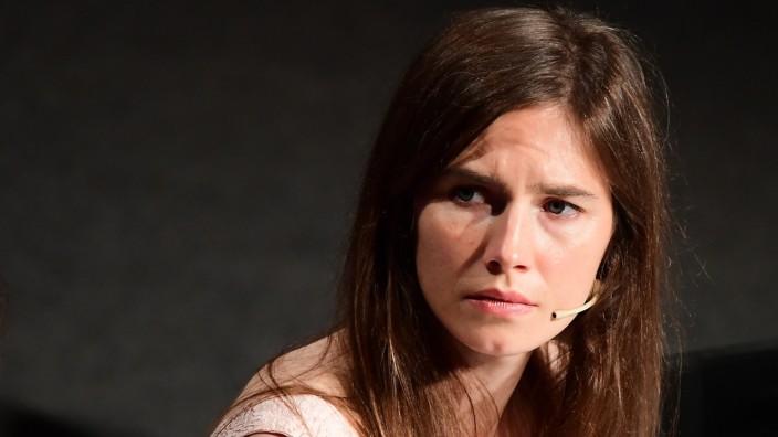 """Amanda Knox kritisiert den Film """"Stillwater"""": Amanda Knox, 2015 von allen Mordvorwürfen endgültig freigesprochen, arbeitet heute als Journalistin - hier bei einem Auftritt in Modena 2019."""