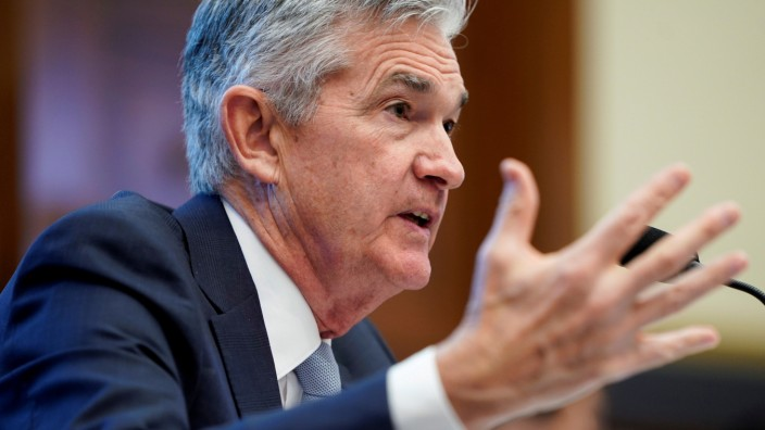 FILE PHOTO: Federal Reserve Board Chairman Jerome Powell delivers the Federal ReserveâÄÖs Semiannual Monetary Policy Report to the House Financial Services Committee on Capitol Hill in Washington