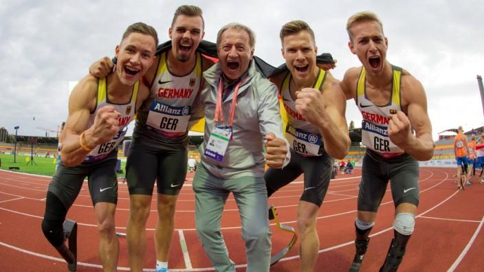 Para Leichtathletik EM Berlin 24 08 2018 Die deutsche Männerstaffel mit Felix Streng Phil Grolla; Beucher