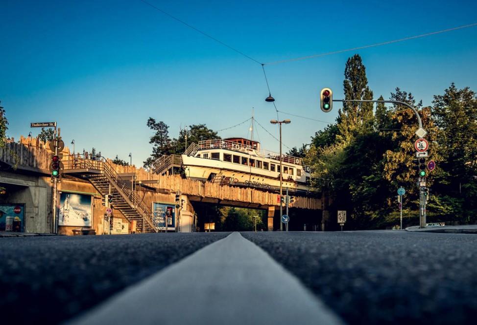 "Architektouren 2019 - ""MS Utting"" - look for the boat on the bridge, München"