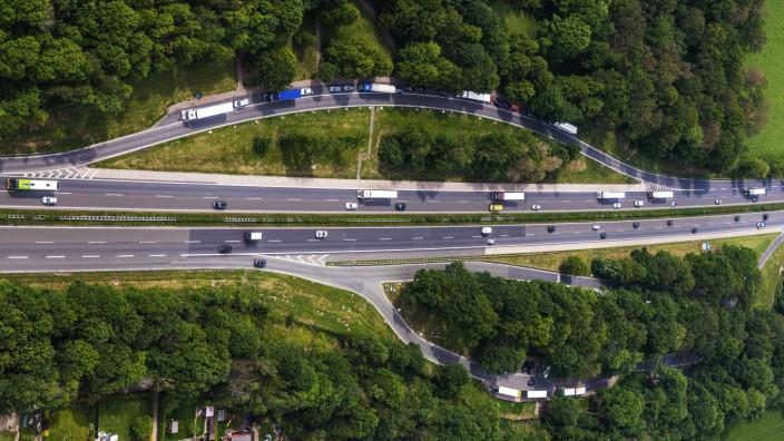 Luftbild vom Autobahnrastplatz Rastplatz An Der Landwehr auf der Autobahn A1 in Werne Ruhrgebiet N