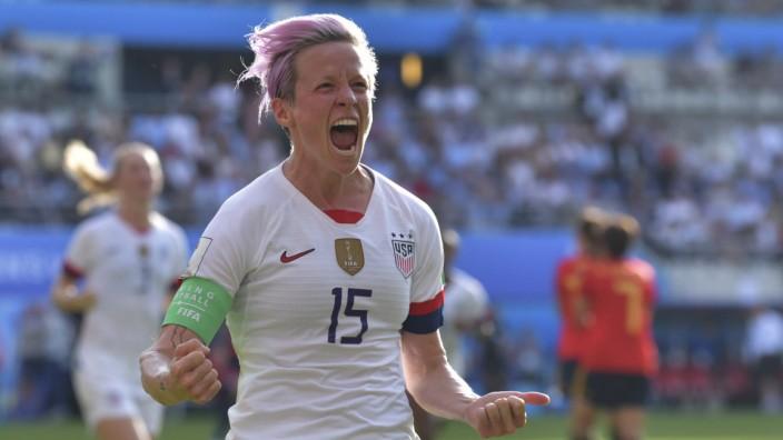 Megan Rapinoe but et joie FOOTBALL Coupe du Monde femine france 2019 8 e de Finale Espagne vs US