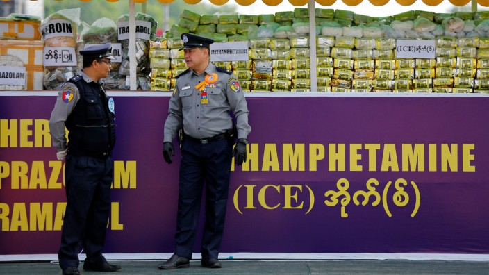 Illegal drugs worth around 301.16 million U.S. dollars are seen before being burned by Myanmar authorities to mark the International Day against Drug Abuse and Illicit Trafficking in Yangon