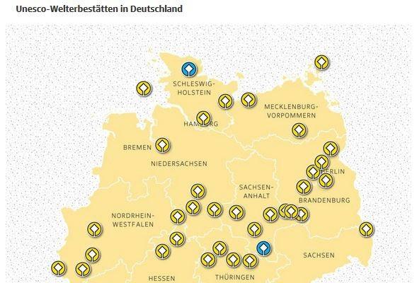 Unesco Welterbestätten in Deutschland Karte Ausschnitt