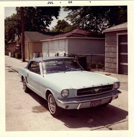 Gail Wise's Skylight Blue 1964 1/2 Ford Mustang convertible is parked soon after she bought the car in Chicago, Illinois