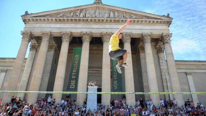 Slackliner beim Münchner Sportfestival, 2016