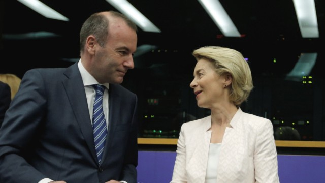 German Defense Minister Ursula von der Leyen, who has been nominated as European Commission President, arrives at the European Parliament in Strasbourg