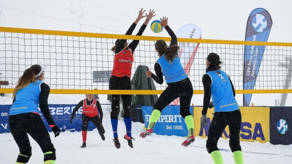 April 14 2019 St Anton Am Alberg Tyrol Austria Feminine finals seen between Turkey in Red an; Schneevolleyball