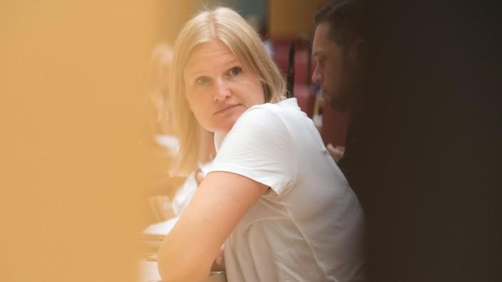 Die AfD-Fraktionsvorsitzende Katrin Ebner-Steiner im Landtag in München.