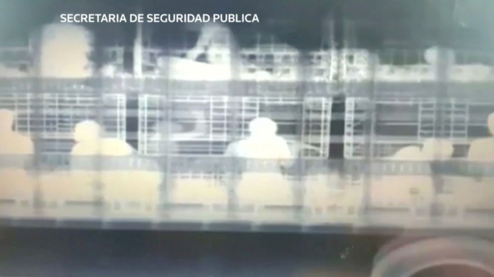 A combination picture shows mmigrants in a tractor trailer after being detected by police X-ray equipment in Concepcion del Oro