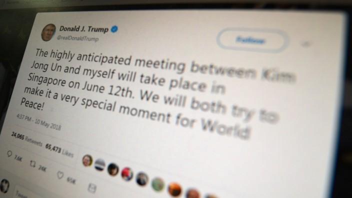Gerichtsurteil: Trump nutzt Twitter intensiver als alle US-Präsidenten vor ihm. In einem Tweet kündigte er 2018 auch sein historisches Treffen mit Kim Jong-un an.