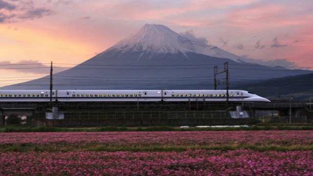 Central Japan Railway's Bullet Train Travels Past Mount Fu