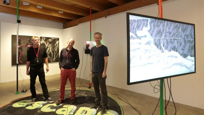 Freisinger Schafhof: Clemens Fürtler, Michael Stober ( Kurator) und Marc Lee gestalten die neue Ausstellung im Freisinger Schafhof.