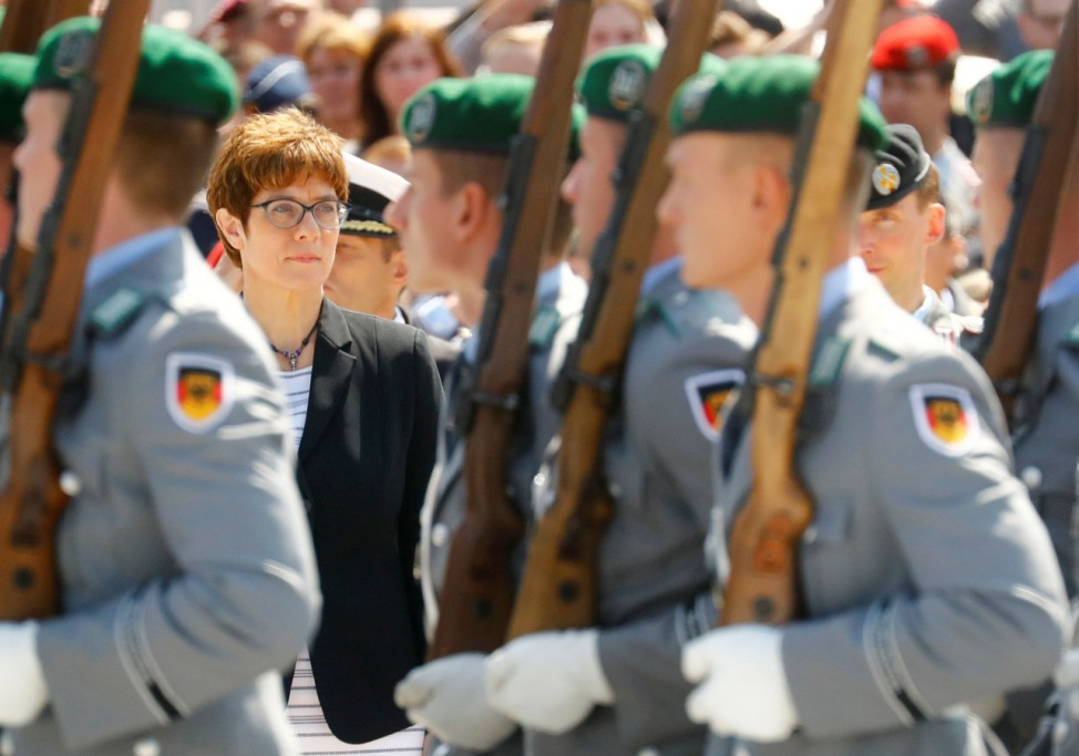 New German defense minister Annegret Kramp-Karrenbauer is welcomed at the Defense Ministry in Berlin