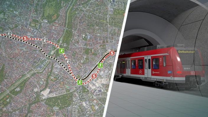 Die zweite S-Bahn-Stammstrecke in München soll parallel zur ersten verlaufen.